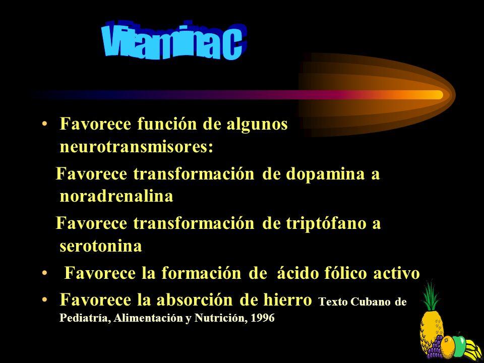 Otros micronutrientes (vitaminas) que intervienen en el proceso del aprendizaje Vitamina C Texto Cubano de Pediatría, Alimentación y Nutrición, 1996 A