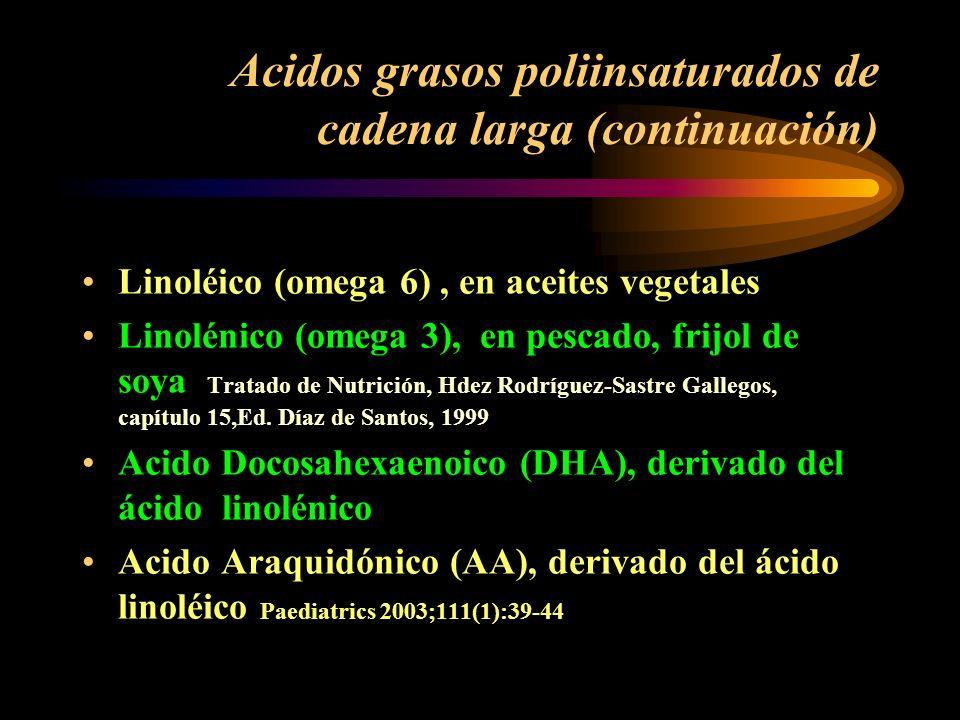 Macronutrientes. Acidos grasos poliinsaturados de cadena larga Participan en regulación del Sistema nervioso central, donde aumentan su contenido desd