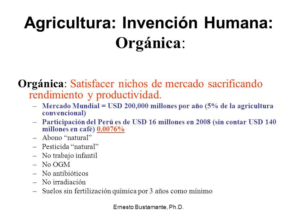 Ernesto Bustamante, Ph.D. Agricultura: Invención Humana: Orgánica: Orgánica: Satisfacer nichos de mercado sacrificando rendimiento y productividad. –M