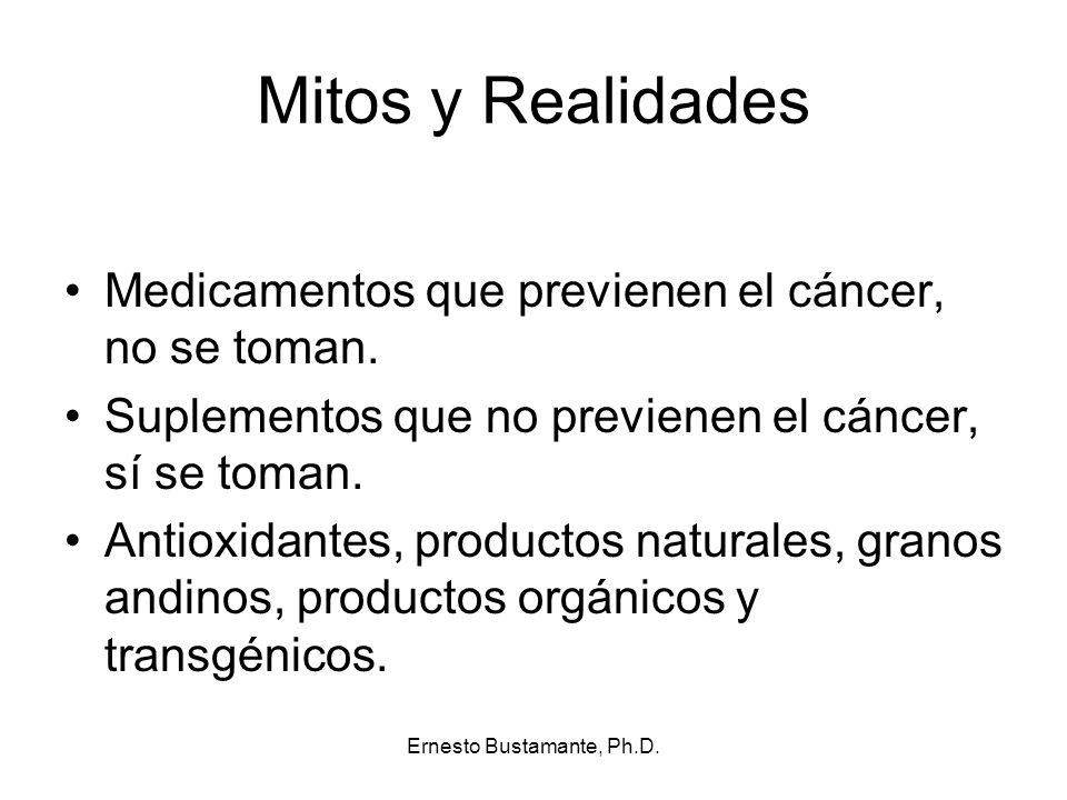 Mitos y Realidades Medicamentos que previenen el cáncer, no se toman. Suplementos que no previenen el cáncer, sí se toman. Antioxidantes, productos na