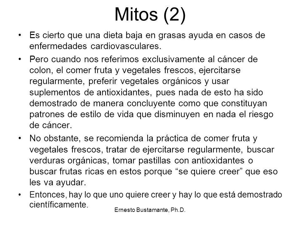Mitos (2) Es cierto que una dieta baja en grasas ayuda en casos de enfermedades cardiovasculares. Pero cuando nos referimos exclusivamente al cáncer d