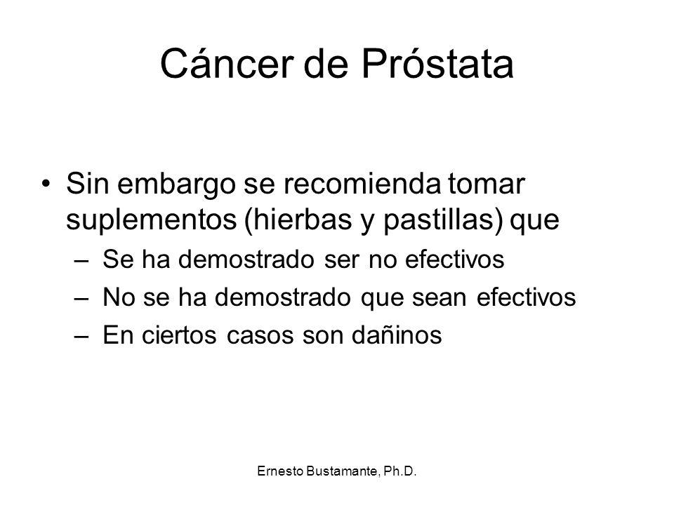 Cáncer de Próstata Sin embargo se recomienda tomar suplementos (hierbas y pastillas) que – Se ha demostrado ser no efectivos – No se ha demostrado que