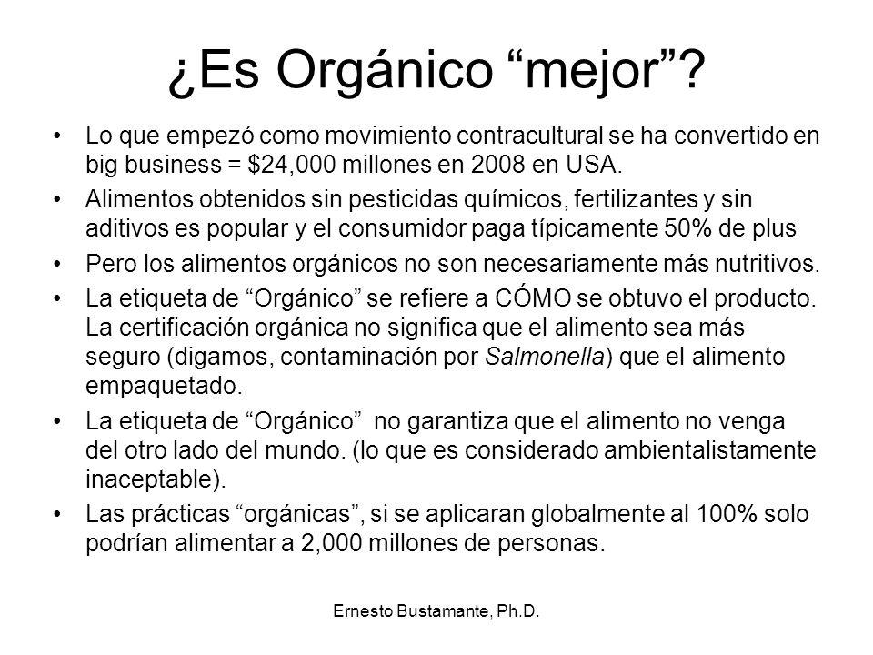 ¿Es Orgánico mejor? Lo que empezó como movimiento contracultural se ha convertido en big business = $24,000 millones en 2008 en USA. Alimentos obtenid