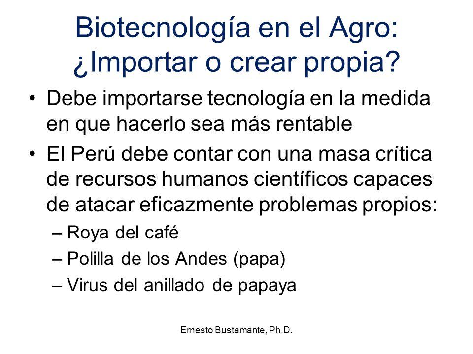 Biotecnología en el Agro: ¿Importar o crear propia? Debe importarse tecnología en la medida en que hacerlo sea más rentable El Perú debe contar con un
