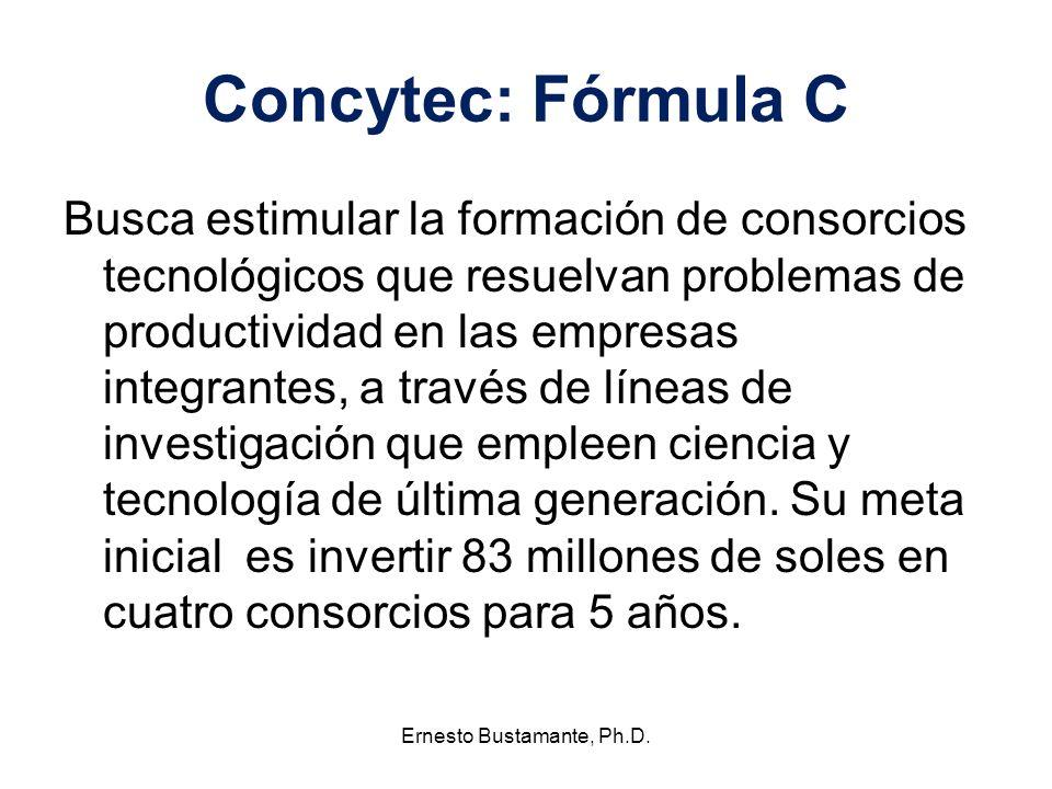 Concytec: Fórmula C Busca estimular la formación de consorcios tecnológicos que resuelvan problemas de productividad en las empresas integrantes, a tr