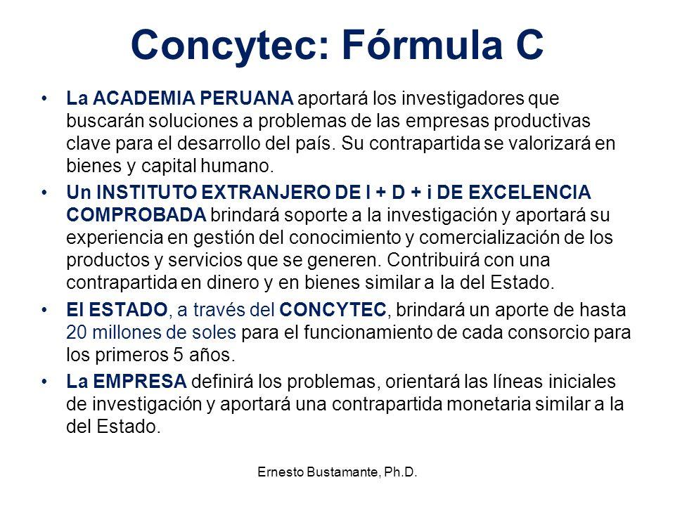 Concytec: Fórmula C La ACADEMIA PERUANA aportará los investigadores que buscarán soluciones a problemas de las empresas productivas clave para el desa