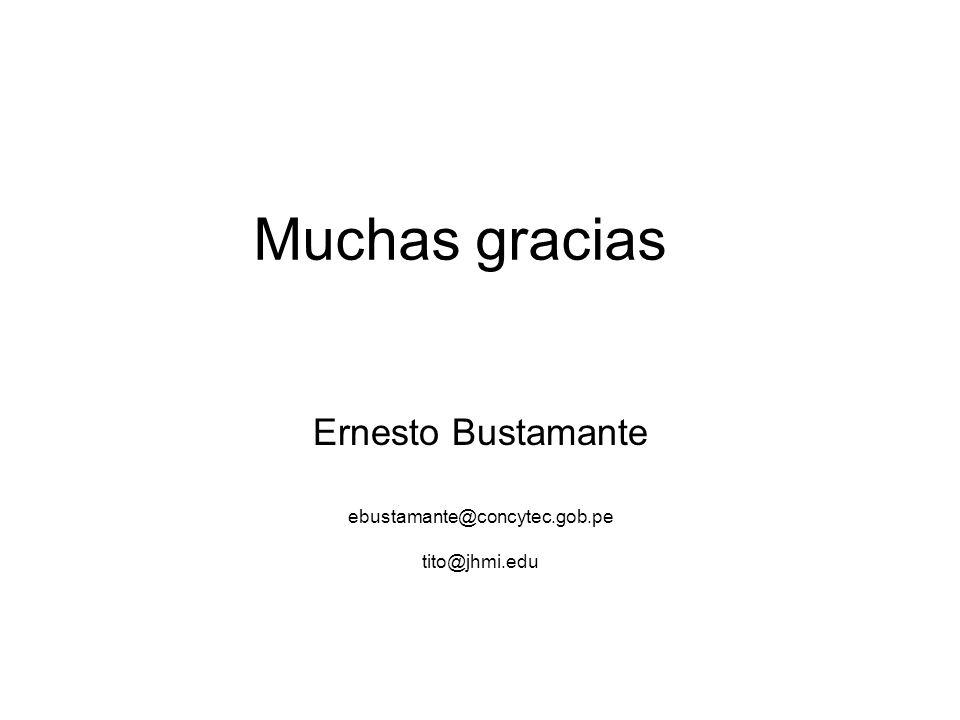 Muchas gracias Ernesto Bustamante ebustamante@concytec.gob.pe tito@jhmi.edu