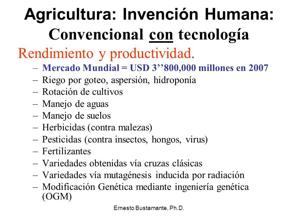 Ernesto Bustamante, Ph.D. Agricultura: Invención Humana: Convencional con tecnología Rendimiento y productividad. –Mercado Mundial = USD 3800,000 mill