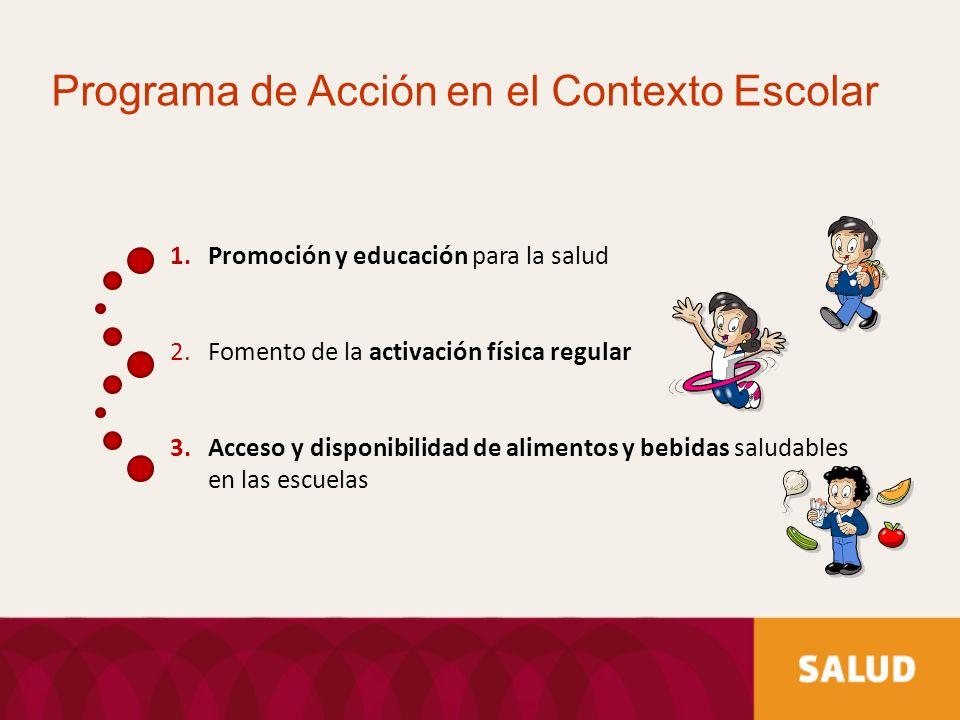 1.Promoción y educación para la salud 2.Fomento de la activación física regular 3.Acceso y disponibilidad de alimentos y bebidas saludables en las esc