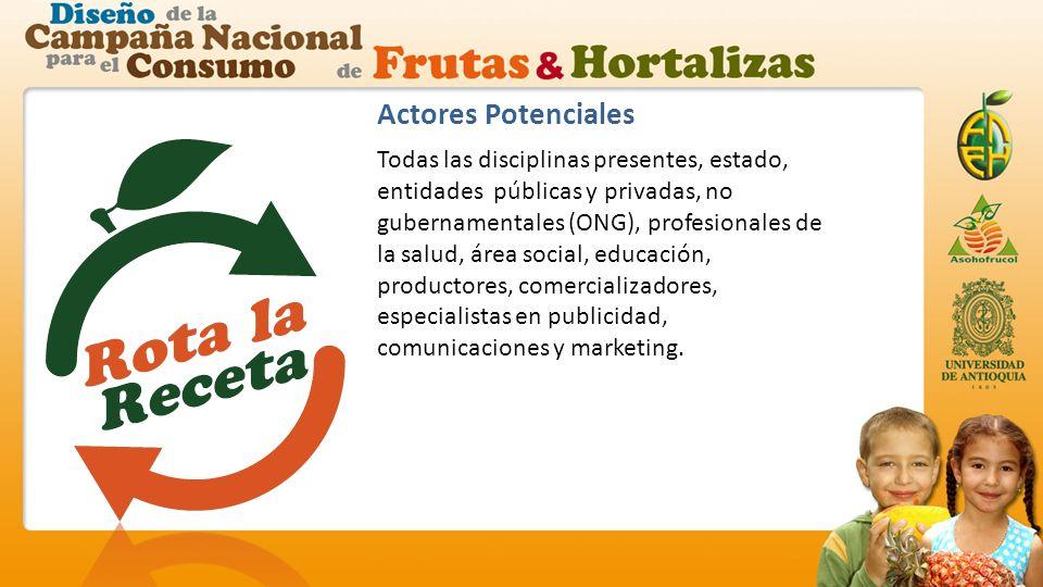 Actores Potenciales Todas las disciplinas presentes, estado, entidades públicas y privadas, no gubernamentales (ONG), profesionales de la salud, área social, educación, productores, comercializadores, especialistas en publicidad, comunicaciones y marketing.