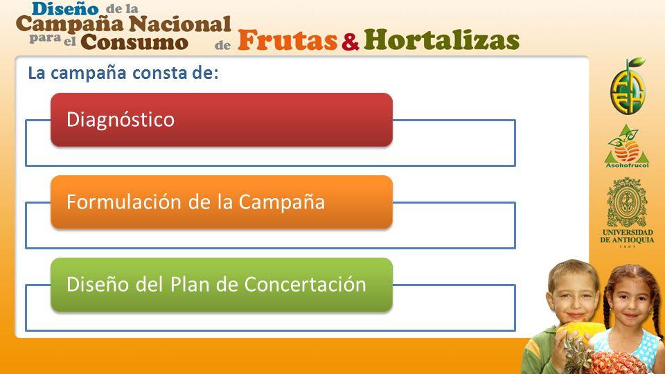 La campaña consta de: DiagnósticoFormulación de la CampañaDiseño del Plan de Concertación