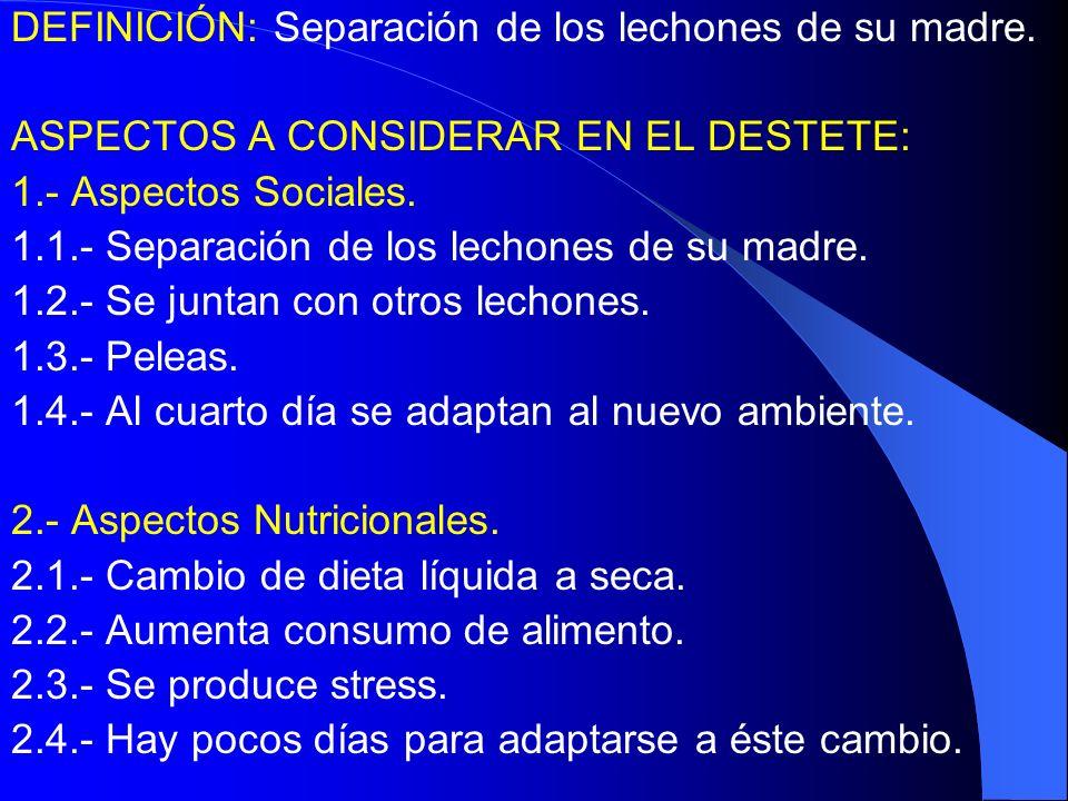 DEFINICIÓN: Separación de los lechones de su madre. ASPECTOS A CONSIDERAR EN EL DESTETE: 1.- Aspectos Sociales. 1.1.- Separación de los lechones de su