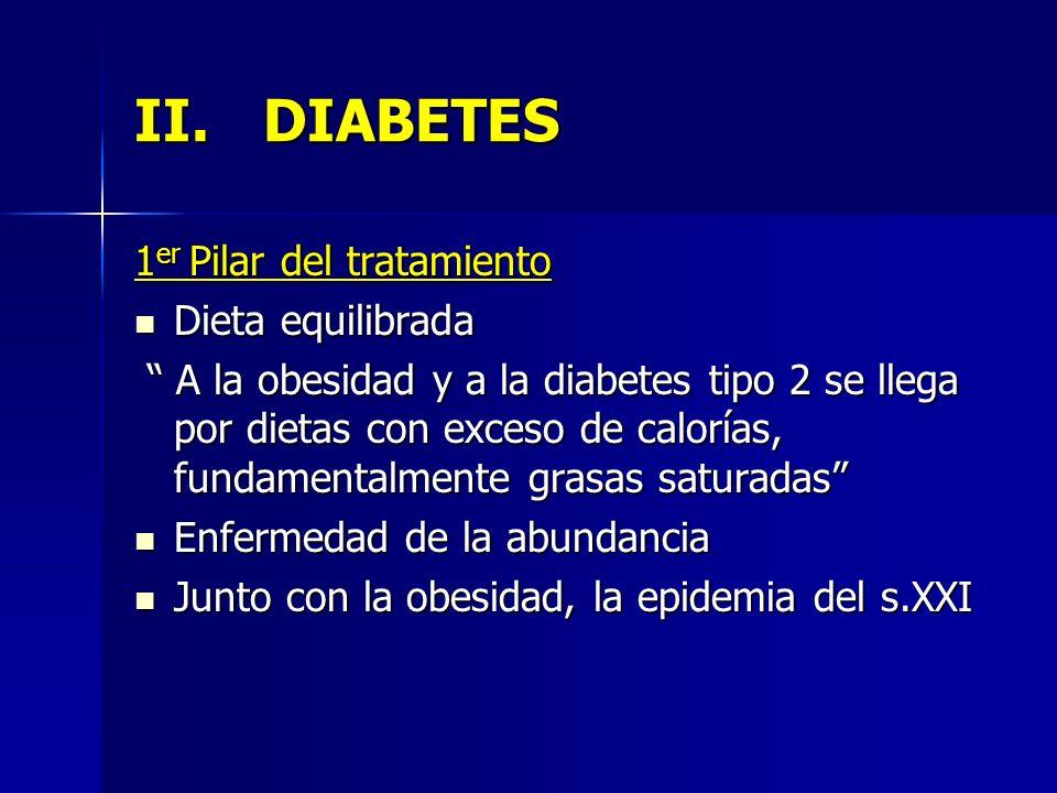 II.DIABETES 1 er Pilar del tratamiento Dieta equilibrada Dieta equilibrada A la obesidad y a la diabetes tipo 2 se llega por dietas con exceso de calo