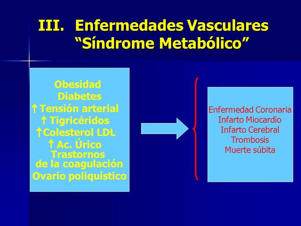 III.Enfermedades Vasculares Síndrome Metabólico Obesidad Diabetes Tensión arterial Tigricéridos Colesterol LDL Ac. Úrico Trastornos de la coagulación