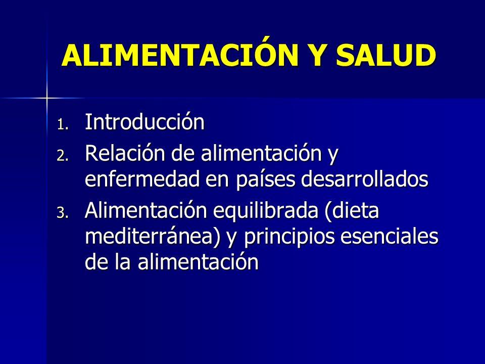 ALIMENTACIÓN Y SALUD 1. Introducción 2. Relación de alimentación y enfermedad en países desarrollados 3. Alimentación equilibrada (dieta mediterránea)