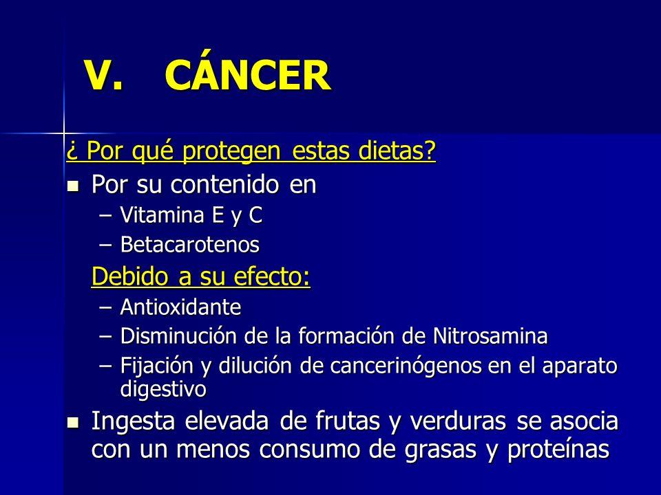 V.CÁNCER ¿ Por qué protegen estas dietas? Por su contenido en Por su contenido en –Vitamina E y C –Betacarotenos Debido a su efecto: –Antioxidante –Di