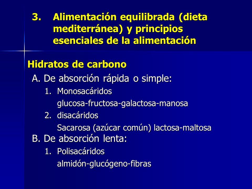 3.Alimentación equilibrada (dieta mediterránea) y principios esenciales de la alimentación A. De absorción rápida o simple: 1.Monosacáridos glucosa-fr