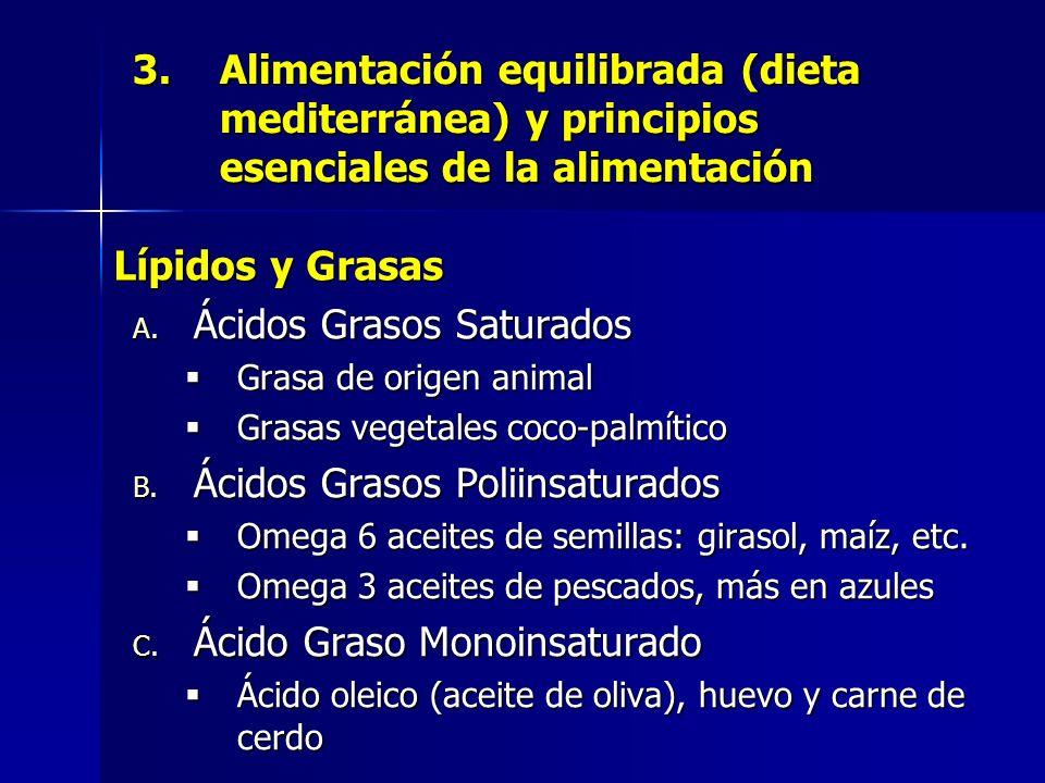 3.Alimentación equilibrada (dieta mediterránea) y principios esenciales de la alimentación A. Ácidos Grasos Saturados Grasa de origen animal Grasas ve