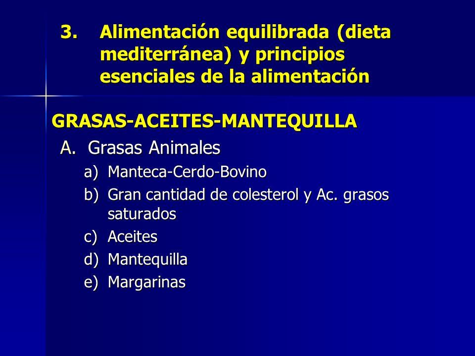 3.Alimentación equilibrada (dieta mediterránea) y principios esenciales de la alimentación A.Grasas Animales a)Manteca-Cerdo-Bovino b)Gran cantidad de colesterol y Ac.