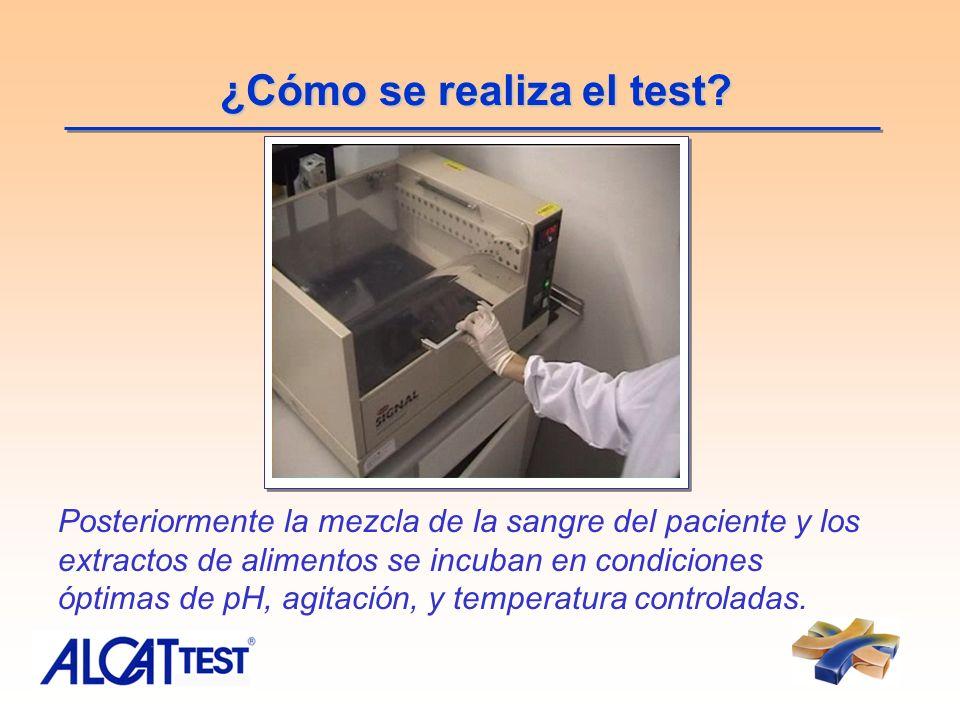 ¿Cómo se realiza el test? Posteriormente la mezcla de la sangre del paciente y los extractos de alimentos se incuban en condiciones óptimas de pH, agi