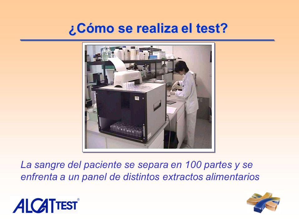 ¿Cómo se realiza el test? La sangre del paciente se separa en 100 partes y se enfrenta a un panel de distintos extractos alimentarios