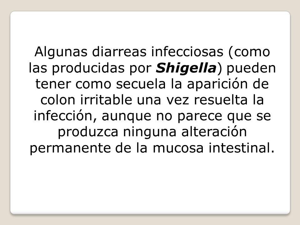 Algunas diarreas infecciosas (como las producidas por Shigella) pueden tener como secuela la aparición de colon irritable una vez resuelta la infecció