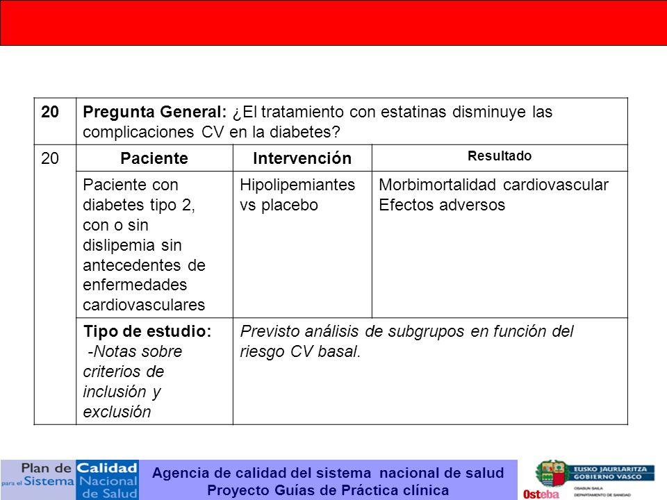 20Pregunta General: ¿El tratamiento con estatinas disminuye las complicaciones CV en la diabetes? 20PacienteIntervención Resultado Paciente con diabet