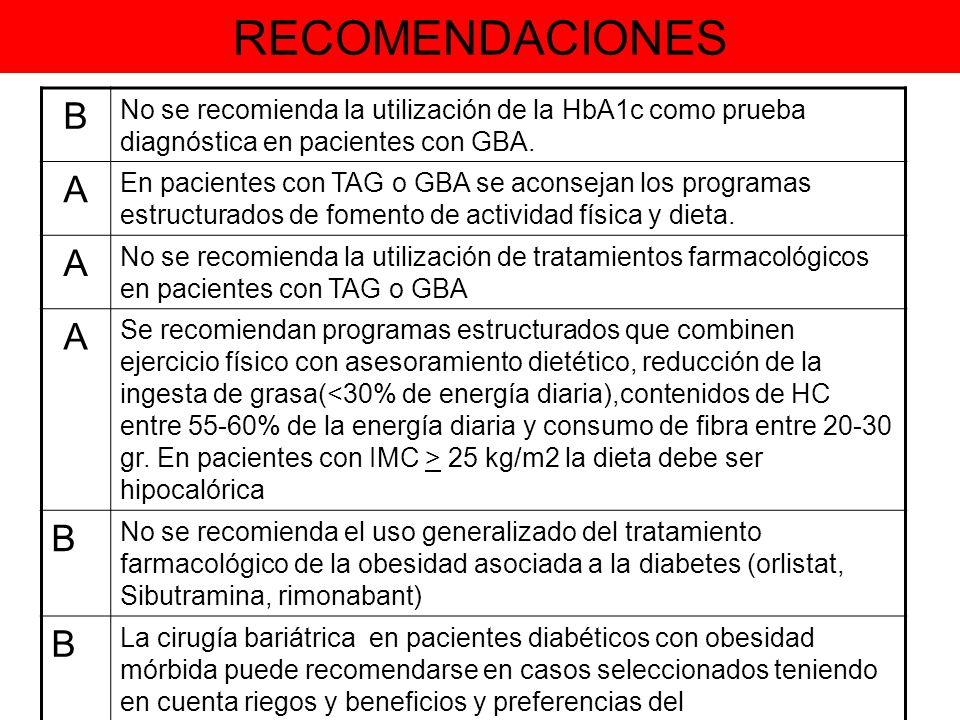 RECOMENDACIONES B No se recomienda la utilización de la HbA1c como prueba diagnóstica en pacientes con GBA. A En pacientes con TAG o GBA se aconsejan