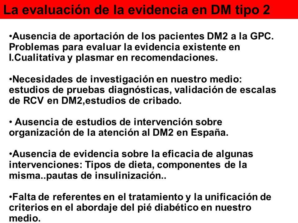 La evaluación de la evidencia en DM tipo 2 Ausencia de aportación de los pacientes DM2 a la GPC. Problemas para evaluar la evidencia existente en I.Cu