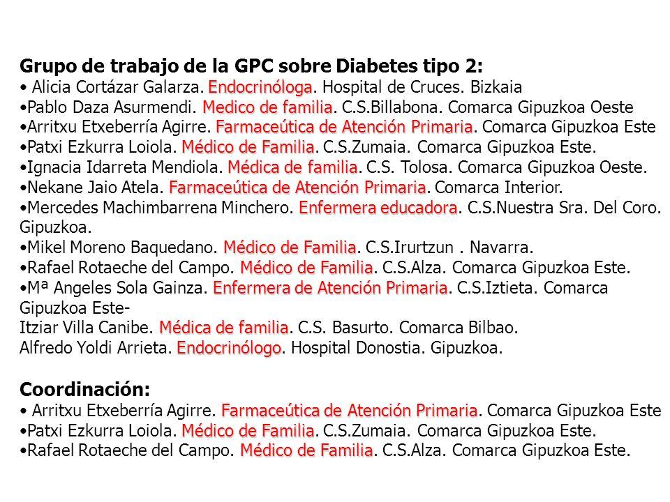 Grupo de trabajo de la GPC sobre Diabetes tipo 2: Endocrinóloga Alicia Cortázar Galarza. Endocrinóloga. Hospital de Cruces. Bizkaia Medico de familiaP