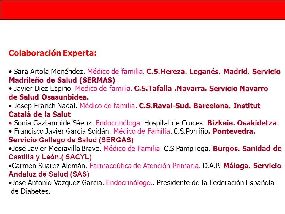 Reconocimientos de las SSCC Federación Española de Diabetes (FED) Sociedad Española de Farmaceúticos de Atención Primaria (SEFAP) Sociedad Española de Medicina Familiar y Comunitaria (SEMFYC) Sociedad Española de Médicos da Atención Primaria (SEMERGEN) Declaración de potenciales conflictos de interés: Todos los miembros del Grupo de Trabajo, así como los profesionales que han participado como colaboradores expertos han realizado la declaración de intereses que se presenta en el Anexo 12.