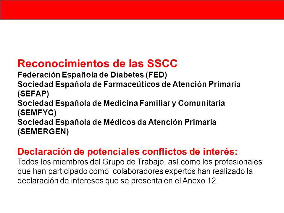 Reconocimientos de las SSCC Federación Española de Diabetes (FED) Sociedad Española de Farmaceúticos de Atención Primaria (SEFAP) Sociedad Española de