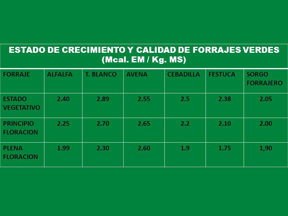 ESTADO DE CRECIMIENTO Y CALIDAD DE FORRAJES VERDES (Mcal. EM / Kg. MS) FORRAJEALFALFAT. BLANCOAVENACEBADILLAFESTUCASORGO FORRAJERO ESTADO VEGETATIVO 2