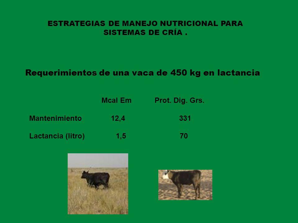 ESTRATEGIAS DE MANEJO NUTRICIONAL PARA SISTEMAS DE CRÍA. Requerimientos de una vaca de 450 kg en lactancia Mcal Em Prot. Dig. Grs. Mantenimiento 12,4