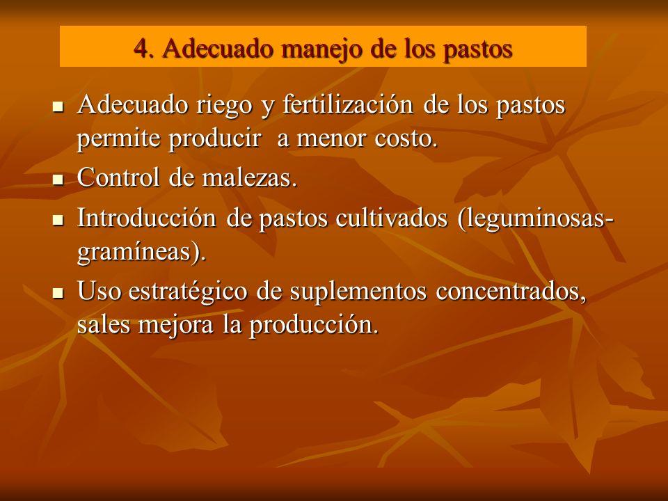 4. Adecuado manejo de los pastos Adecuado riego y fertilización de los pastos permite producir a menor costo. Adecuado riego y fertilización de los pa
