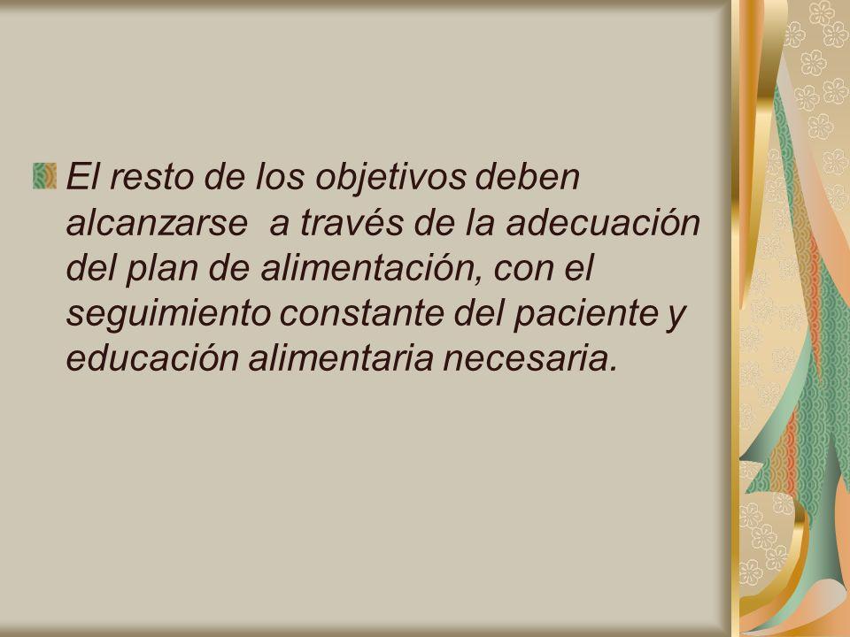 El resto de los objetivos deben alcanzarse a través de la adecuación del plan de alimentación, con el seguimiento constante del paciente y educación a