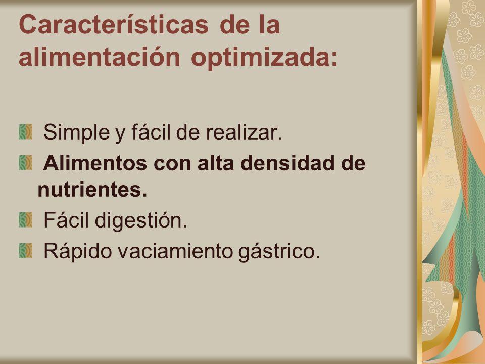 Características de la alimentación optimizada: Simple y fácil de realizar. Alimentos con alta densidad de nutrientes. Fácil digestión. Rápido vaciamie