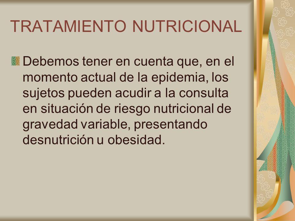 TRATAMIENTO NUTRICIONAL Debemos tener en cuenta que, en el momento actual de la epidemia, los sujetos pueden acudir a la consulta en situación de ries