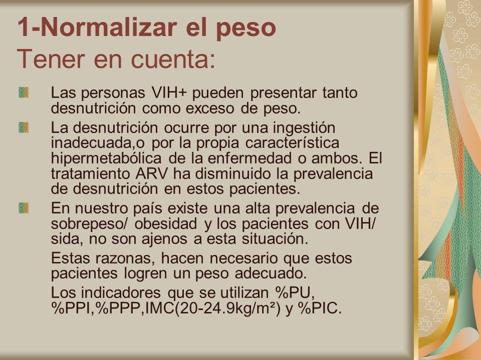 1-Normalizar el peso Tener en cuenta: Las personas VIH+ pueden presentar tanto desnutrición como exceso de peso. La desnutrición ocurre por una ingest