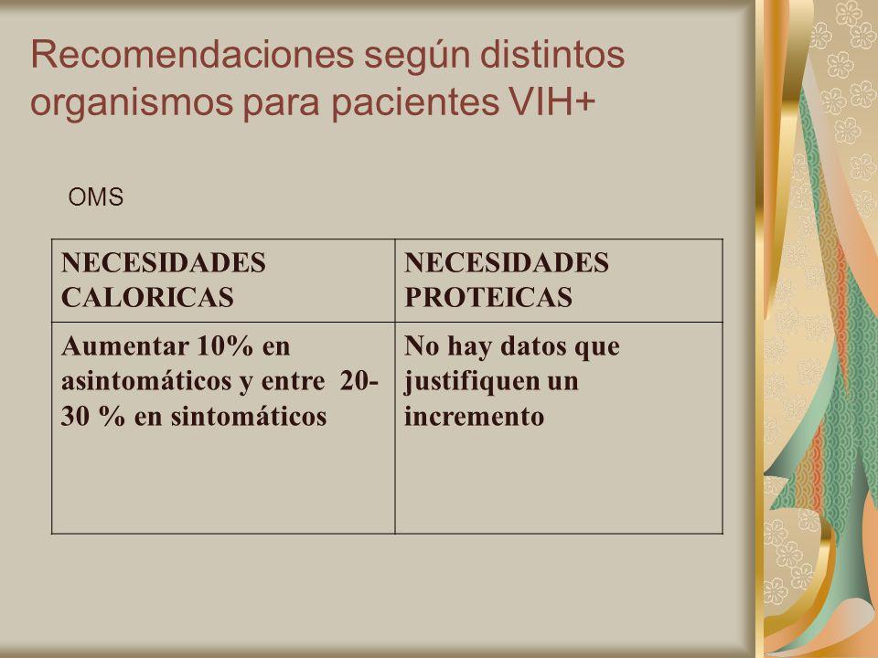 Recomendaciones según distintos organismos para pacientes VIH+ OMS NECESIDADES CALORICAS NECESIDADES PROTEICAS Aumentar 10% en asintomáticos y entre 2