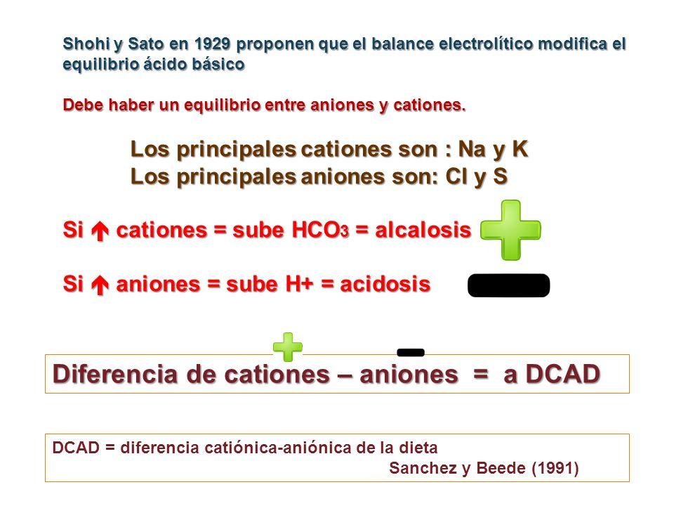 Shohi y Sato en 1929 proponen que el balance electrolítico modifica el equilibrio ácido básico Debe haber un equilibrio entre aniones y cationes. Los