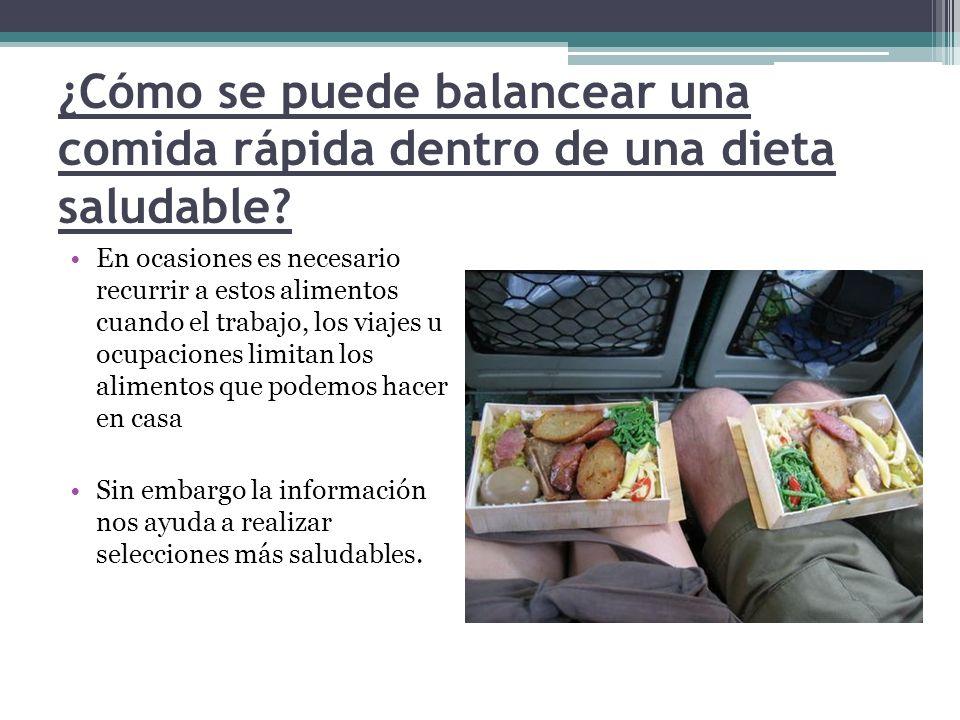 ¿Cómo se puede balancear una comida rápida dentro de una dieta saludable? En ocasiones es necesario recurrir a estos alimentos cuando el trabajo, los