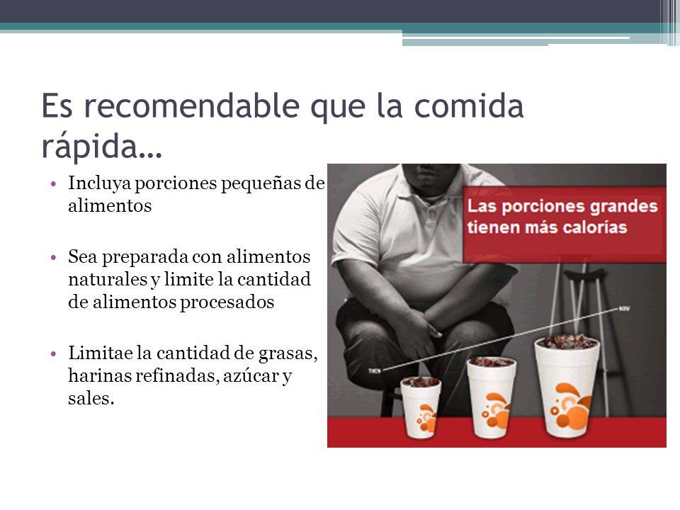 Es recomendable que la comida rápida… Incluya porciones pequeñas de alimentos Sea preparada con alimentos naturales y limite la cantidad de alimentos