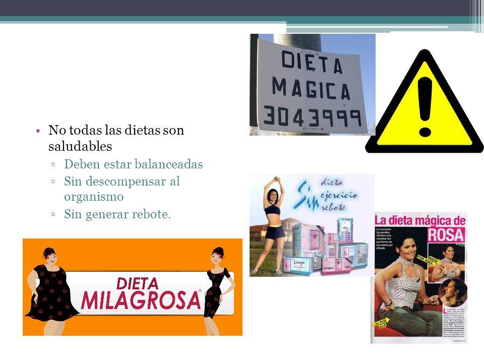 No todas las dietas son saludables Deben estar balanceadas Sin descompensar al organismo Sin generar rebote.