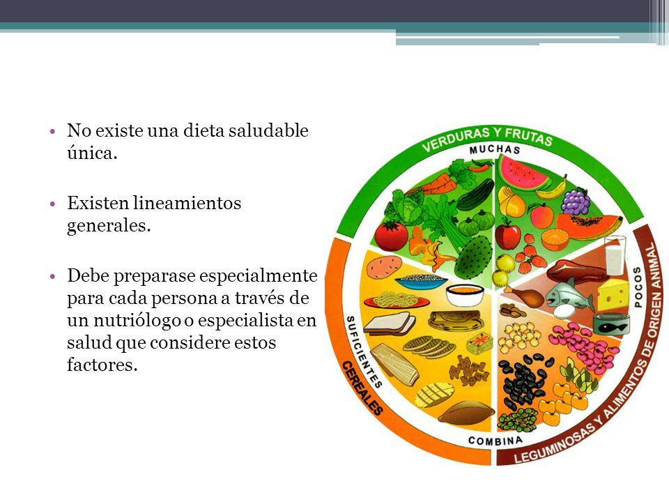 No existe una dieta saludable única. Existen lineamientos generales. Debe preparase especialmente para cada persona a través de un nutriólogo o especi