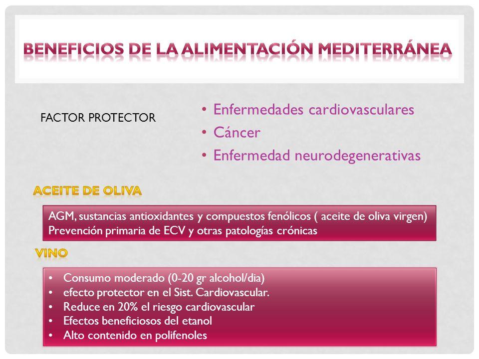 Enfermedades cardiovasculares Cáncer Enfermedad neurodegenerativas FACTOR PROTECTOR AGM, sustancias antioxidantes y compuestos fenólicos ( aceite de o