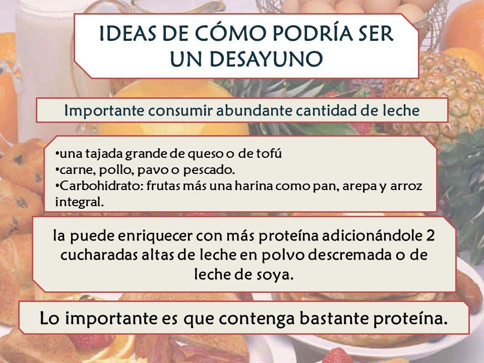 IDEAS DE CÓMO PODRÍA SER UN DESAYUNO la puede enriquecer con más proteína adicionándole 2 cucharadas altas de leche en polvo descremada o de leche de