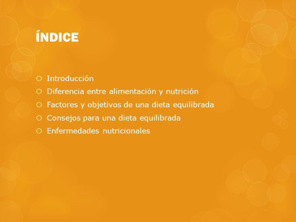 ÍNDICE Introducción Diferencia entre alimentación y nutrición Factores y objetivos de una dieta equilibrada Consejos para una dieta equilibrada Enferm