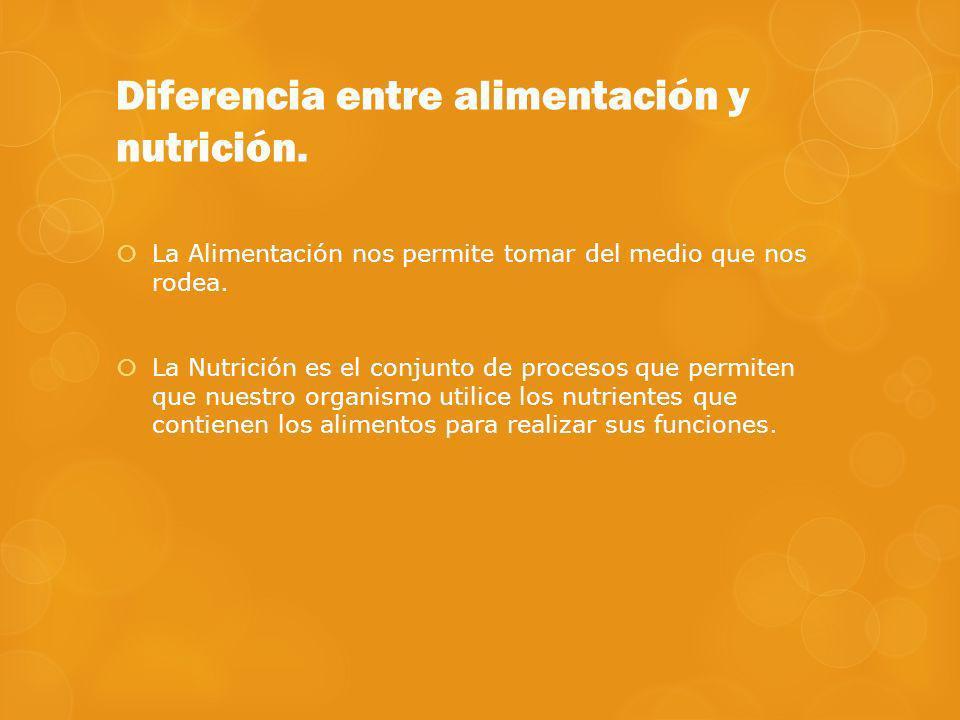 Diferencia entre alimentación y nutrición. La Alimentación nos permite tomar del medio que nos rodea. La Nutrición es el conjunto de procesos que perm