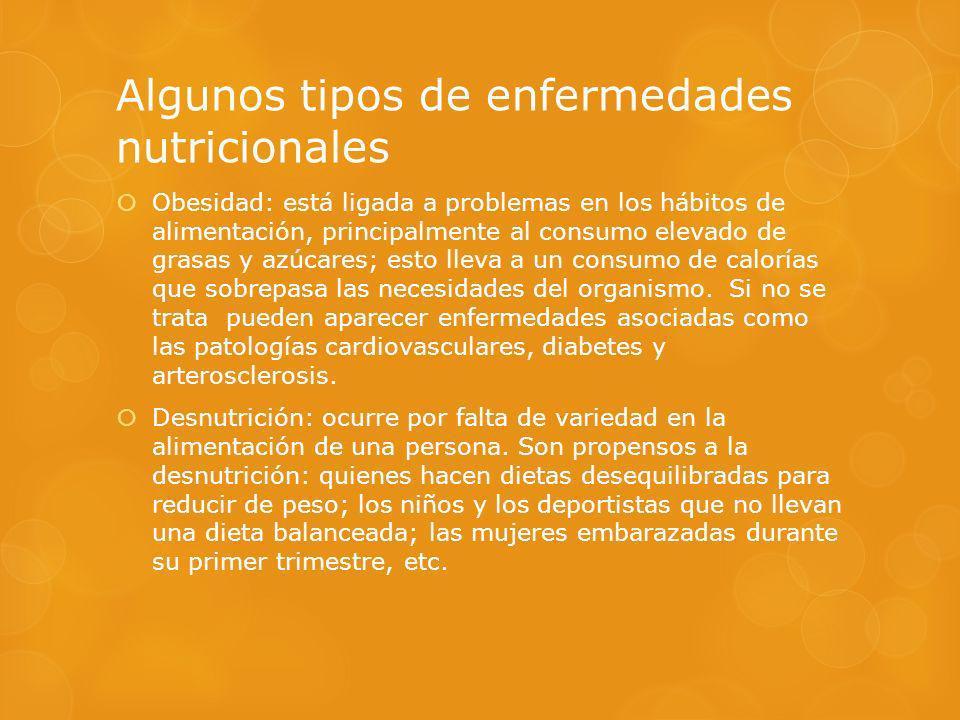 Algunos tipos de enfermedades nutricionales Obesidad: está ligada a problemas en los hábitos de alimentación, principalmente al consumo elevado de gra